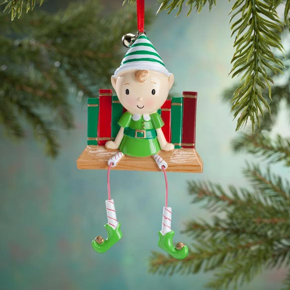 Elf on Bookshelf Ornament