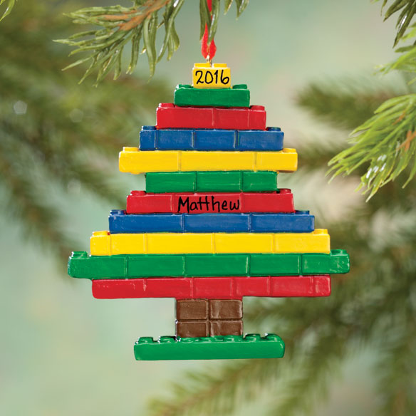 Personalized Building Block Tree Ornament - View 1