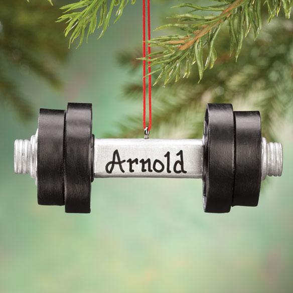 Personalized Dumbbell Ornament