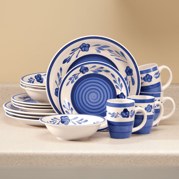 Sierra Madre Floral Blue Stoneware, 16-pc. set