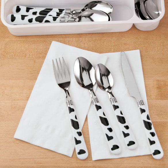 Happy Cow Flatware, 25-pc. Set with Tray