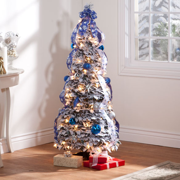 4-Foot Fully Decorated Flocked Pull-Up Tree - Miles Kimball
