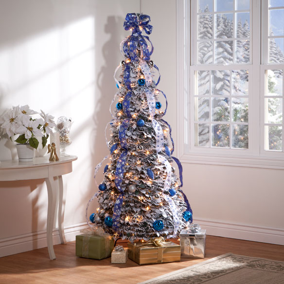 6-Foot Fully Decorated Flocked Pull-Up Tree - View 1