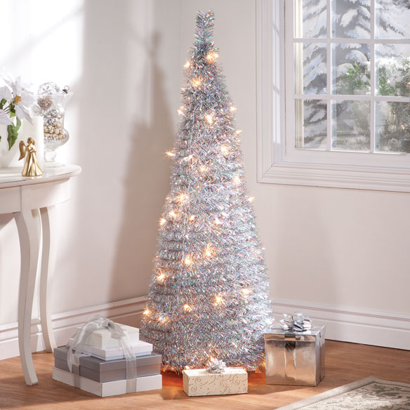 4-Foot Silver Tinsel Pull-Up Tree with Lights