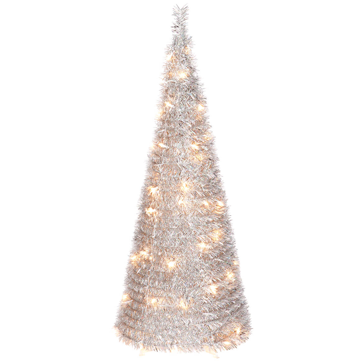 4 Foot Silver Tinsel Pull Up Tree With Lights