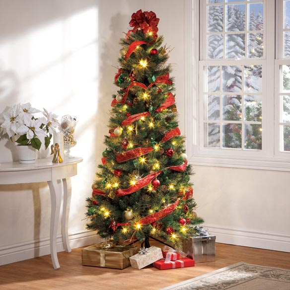 6-Foot Easy-Up Decorated Glitter Pine Tree