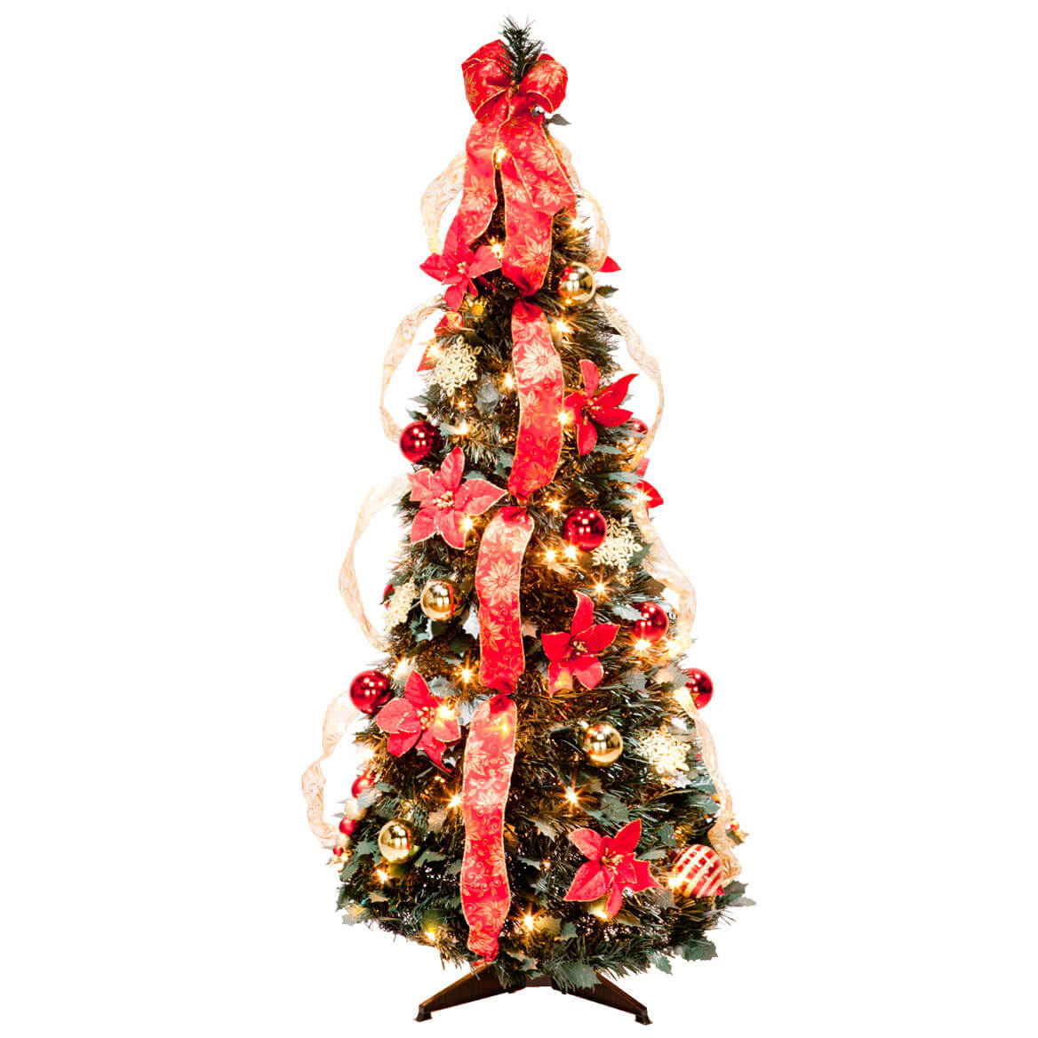 4 ft pull up fully decorated prelit poinsettia tree - Fully Decorated Christmas Trees For Sale