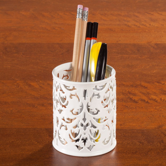 Damask Desktop Pencil Holder - View 1