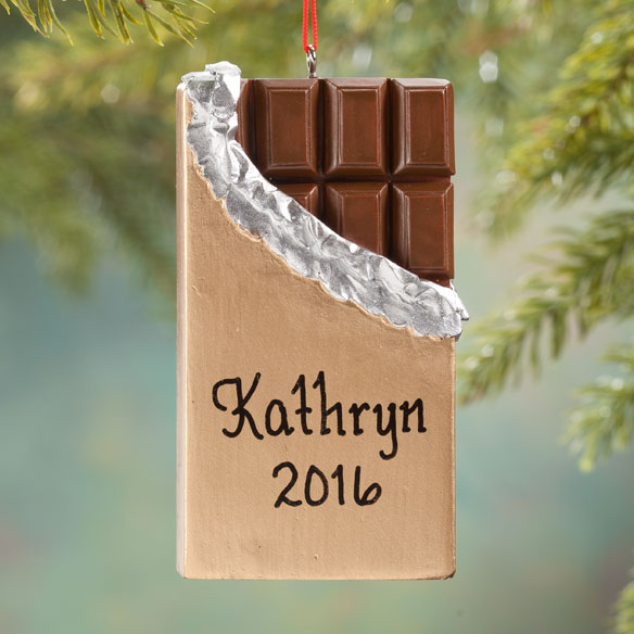 Personalized Gold Wrapped Chocolate Bar Ornament