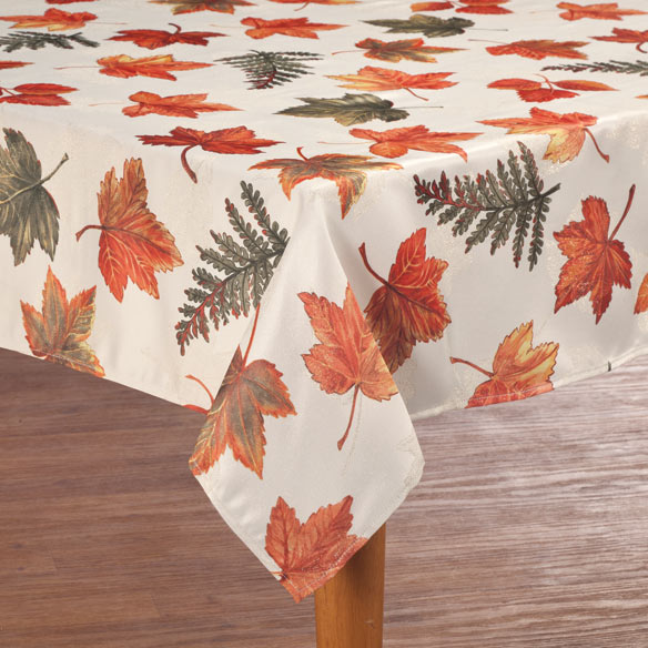Metallic Leaves Fabric Tablecloth