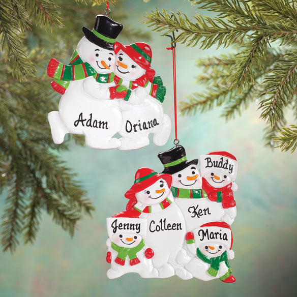 Personalized Snowman Family Ornaments