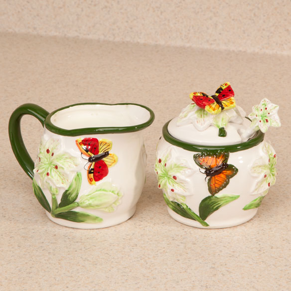 Butterfly Cream & Sugar Set - View 1
