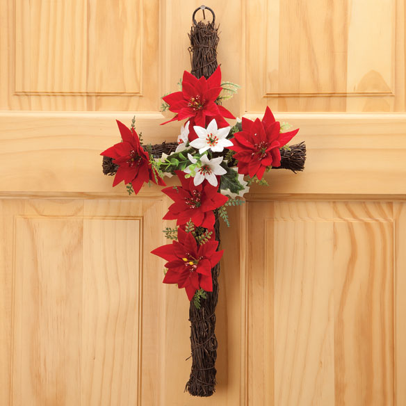 Grapevine Christmas Poinsettia Cross