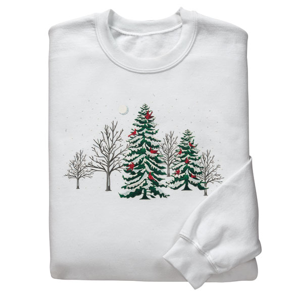 Winter Forest with Cardinals Sweatshirt