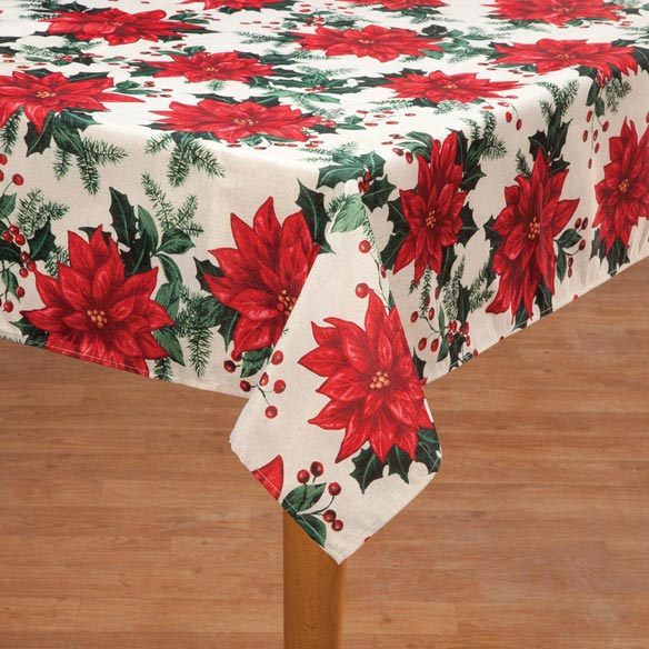 Poinsettia Metallic Fabric Tablecloth