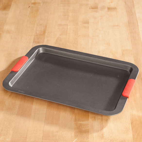 Large Baking Sheet with Red Silicone Handles by Home-Style Kitchen™