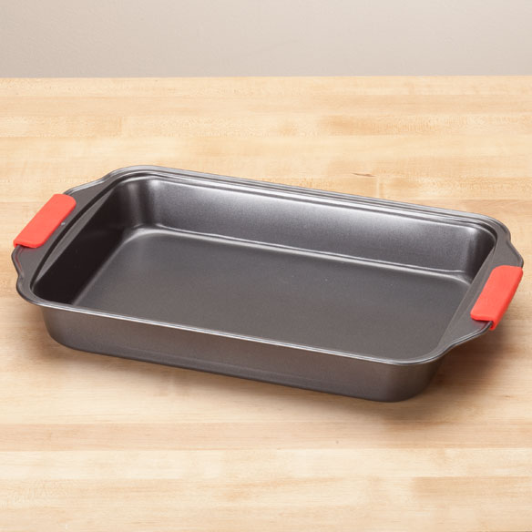 Rectangular Cake Pan with Red Silicone Handles by Home-Style Kitchen™