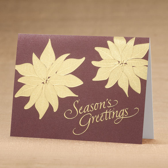 Golden Poinsettia Holiday Cards - Set of 18