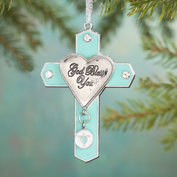 "Pewter ""God Bless You"" Cross Ornament"