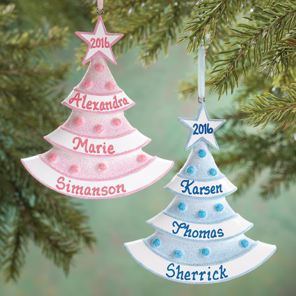 Personalized Baby Glitter Tree Ornament