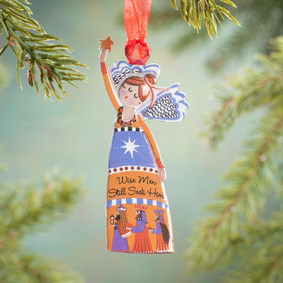 """Wise Men Still Seek Him"" Angel Ornament"