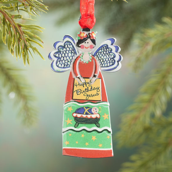"""Happy Birthday Jesus"" Angel Ornament"