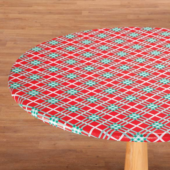 Winter Plaid Vinyl Elasticized Table Covers