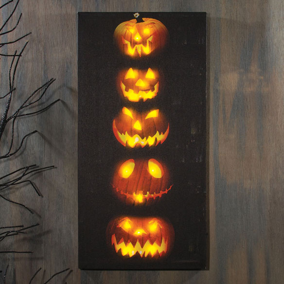 Lighted Stacked Pumpkins Canvas