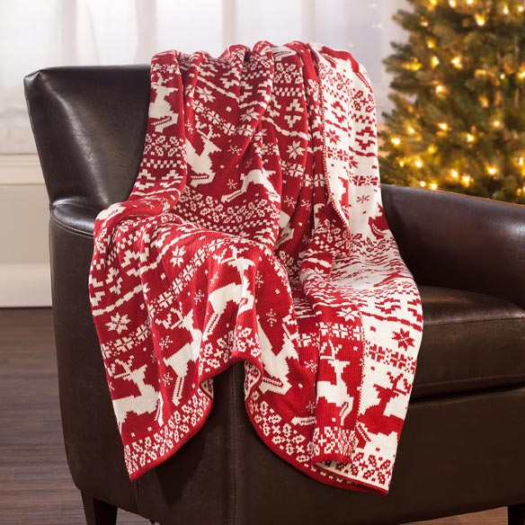 Reversible Deer Knit Throw