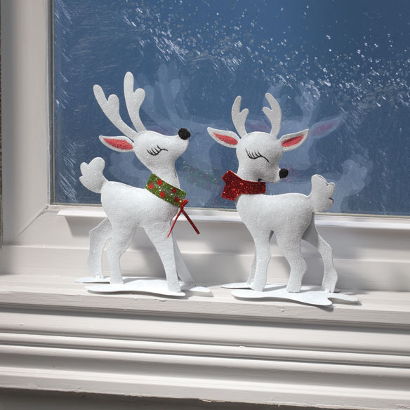 Metal Glitter Reindeer, Set of 2