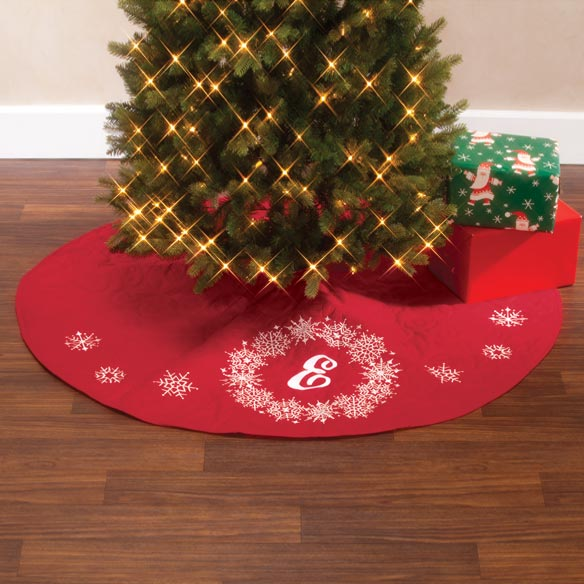 "Monogrammed Snowflake Wreath 54"" Quilted Tree Skirt"
