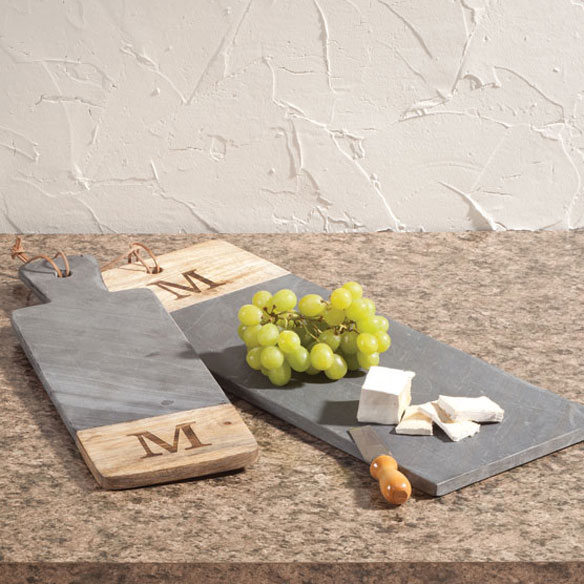 Personalized Slate and Wood Cutting Board