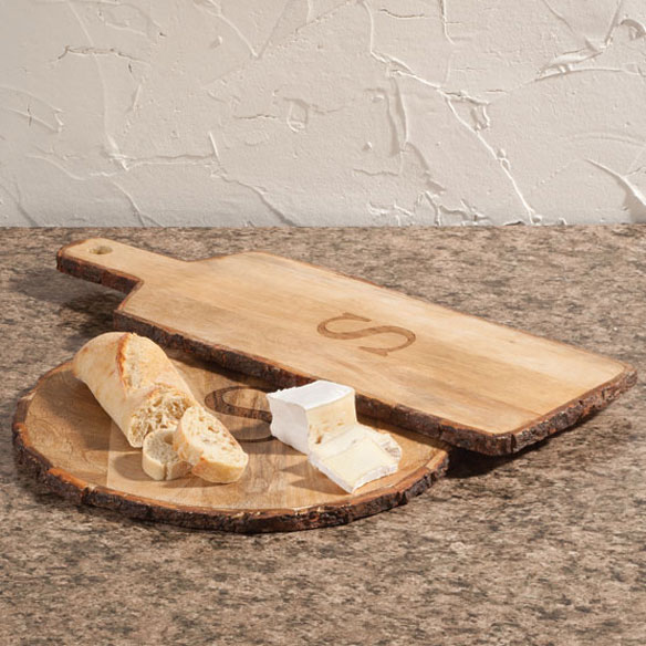 Personalized Rustic Bark Cutting Board Set of 3