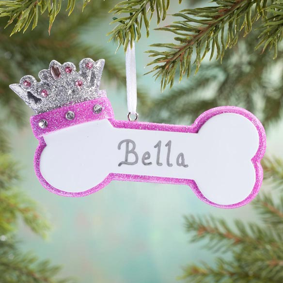 Personalized Princess Dog Bone Ornament