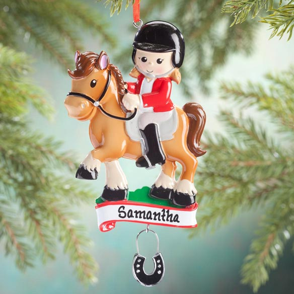 Personalized Horse Rider Ornament - View 1
