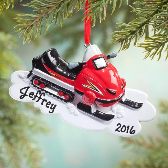 Personalized Snowmobile Ornament - View 1