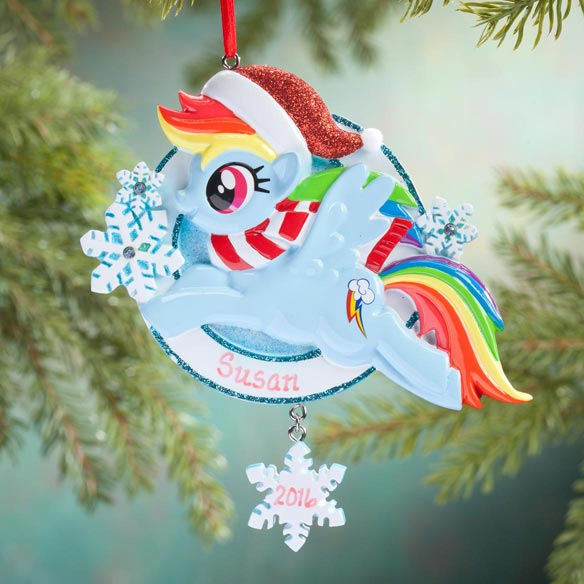 Personalized Blue Santa My Little Pony® Ornament