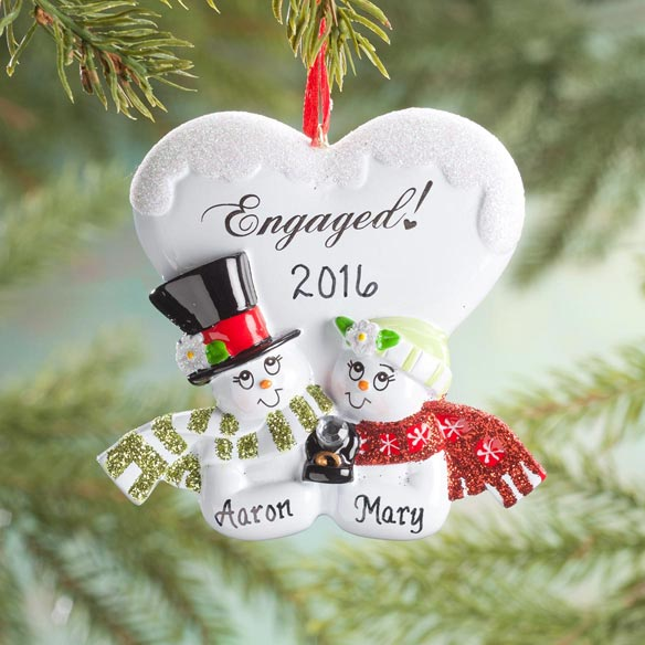 Personalized Engaged Snowmen Ornament - View 1