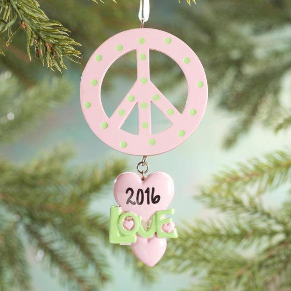 Personalized Peace and Love Ornament - View 1