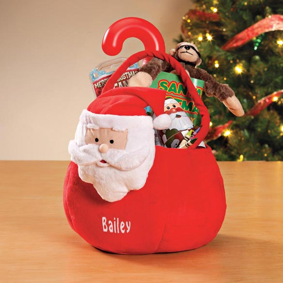 Personalized Plush Santa Basket - View 1