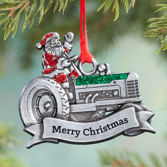 Pewter Merry Christmas Santa on Tractor Ornament