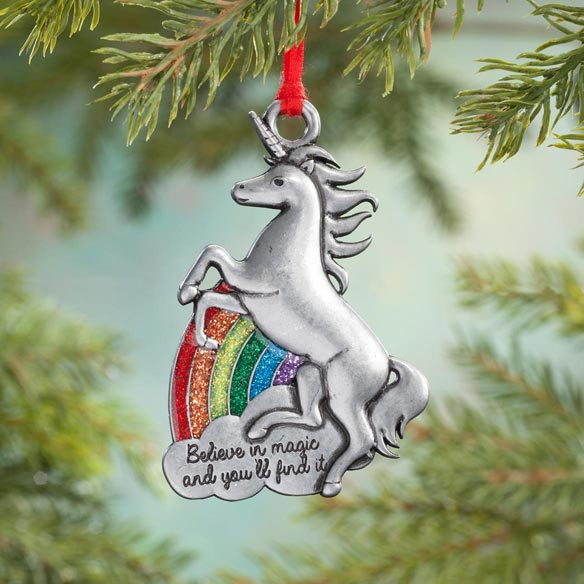 "Pewter ""Believe in Magic"" Unicorn Ornament"