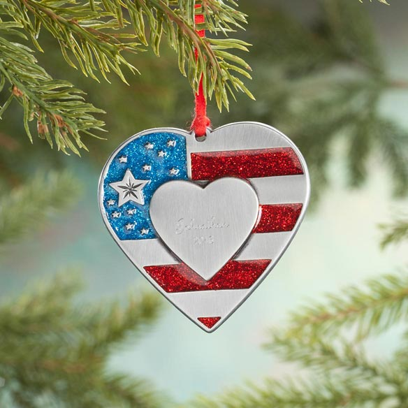 Personalized Pewter Patriotic Heart Ornament