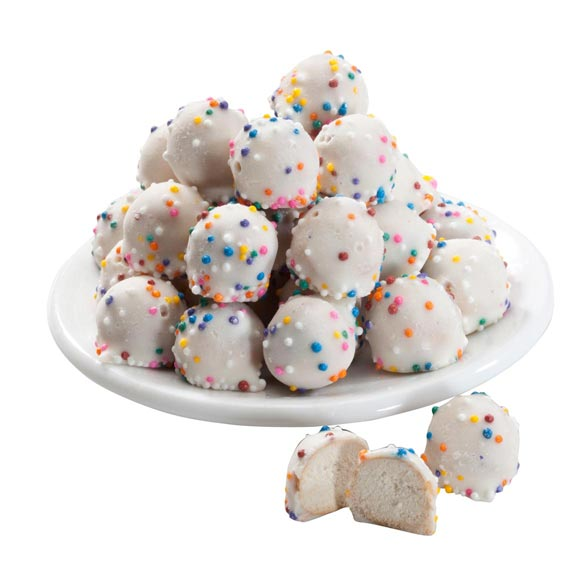 White Confection Covered Pretzel Balls - 4 oz. - View 1