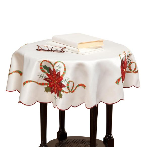Poinsettia Embroidered Tablecloth