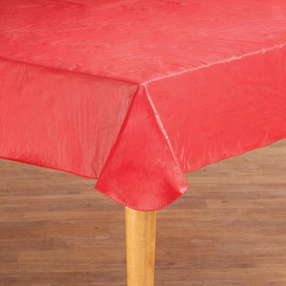 Solid Red Vinyl Table Cover