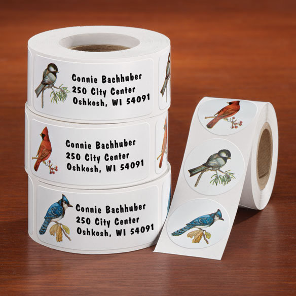 Personalized Wild Birds Address Labels and Seals Set