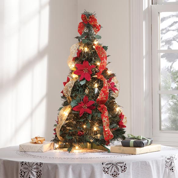 2-Ft. Pull-Up Fully Decorated Pre-Lit Poinsettia Tree