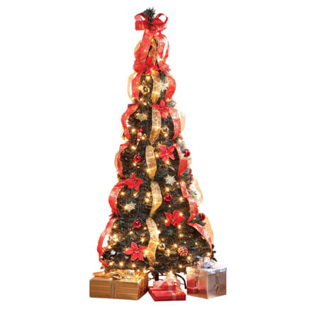 7 Ft. Pull Up Fully Decorated Pre Lit Poinsettia Tree 357693