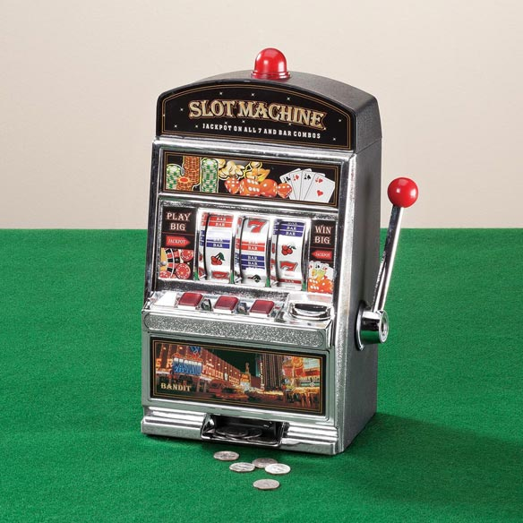 Large Slot Machine with Lights and Bank - View 1